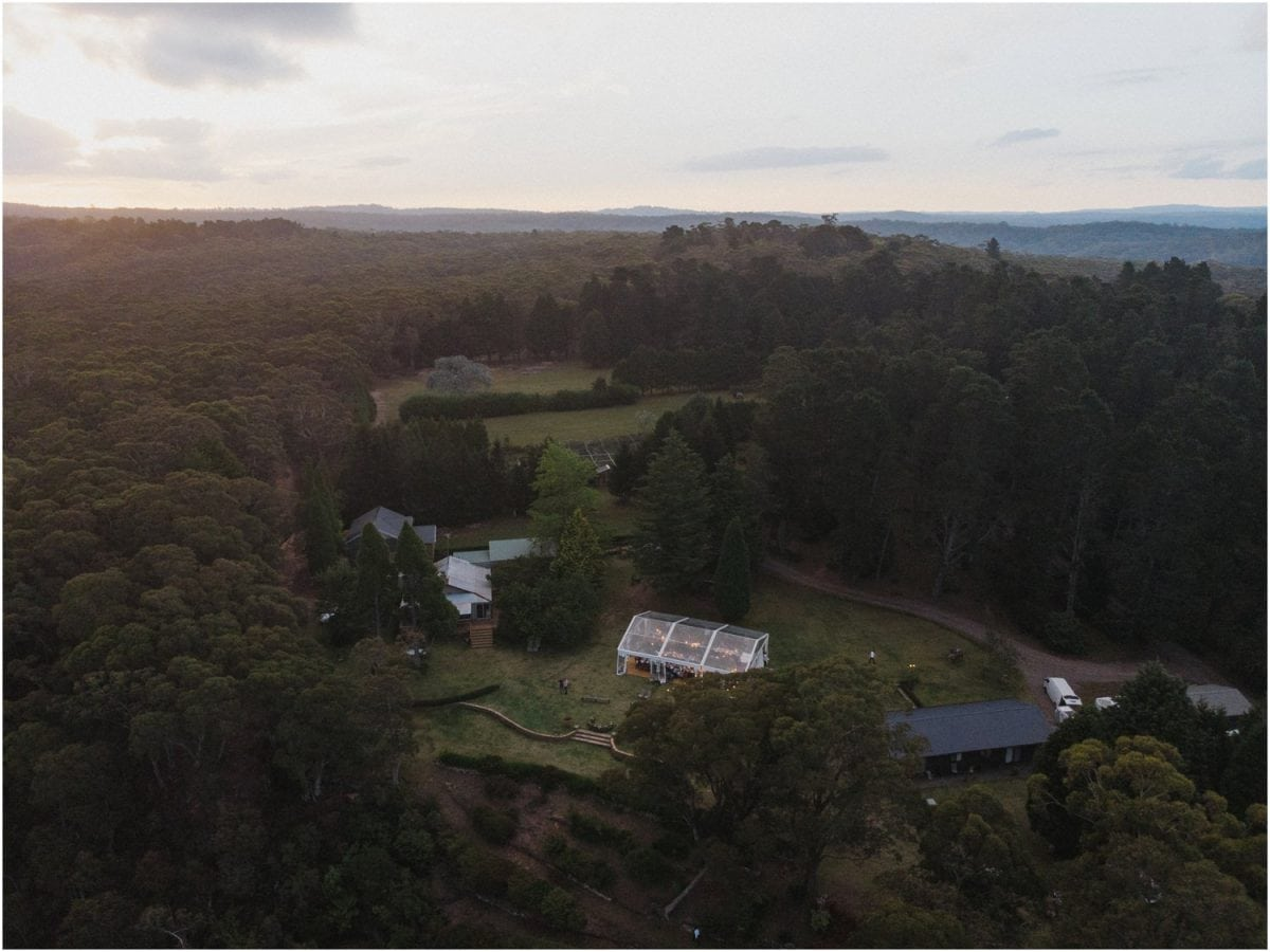A drone shot of an Allview Escape Blue Mountains wedding