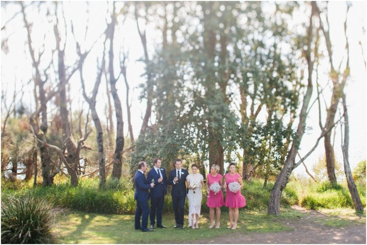 A bridal party after the ceremony at a Bannisters Mollymook wedding