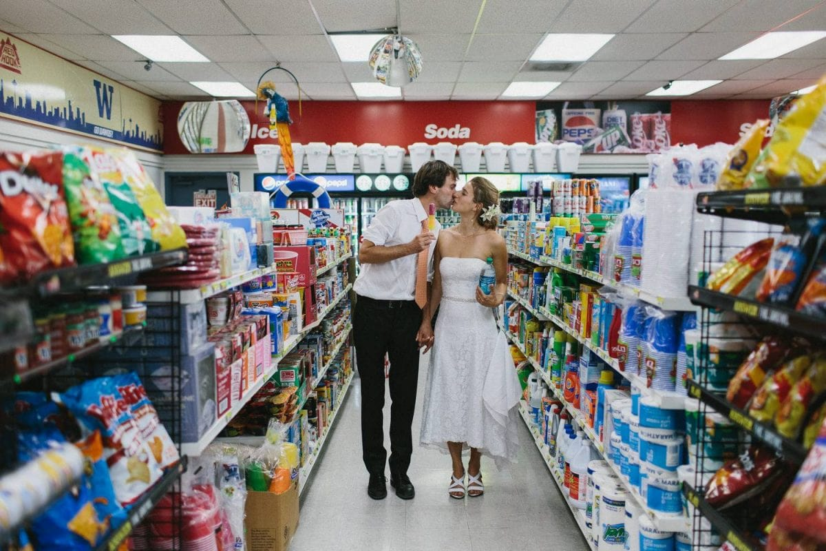 bride and groom in supermarket
