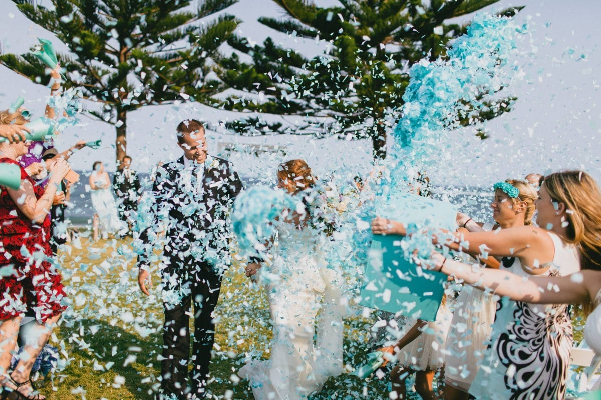 wedding ceremony, confetti