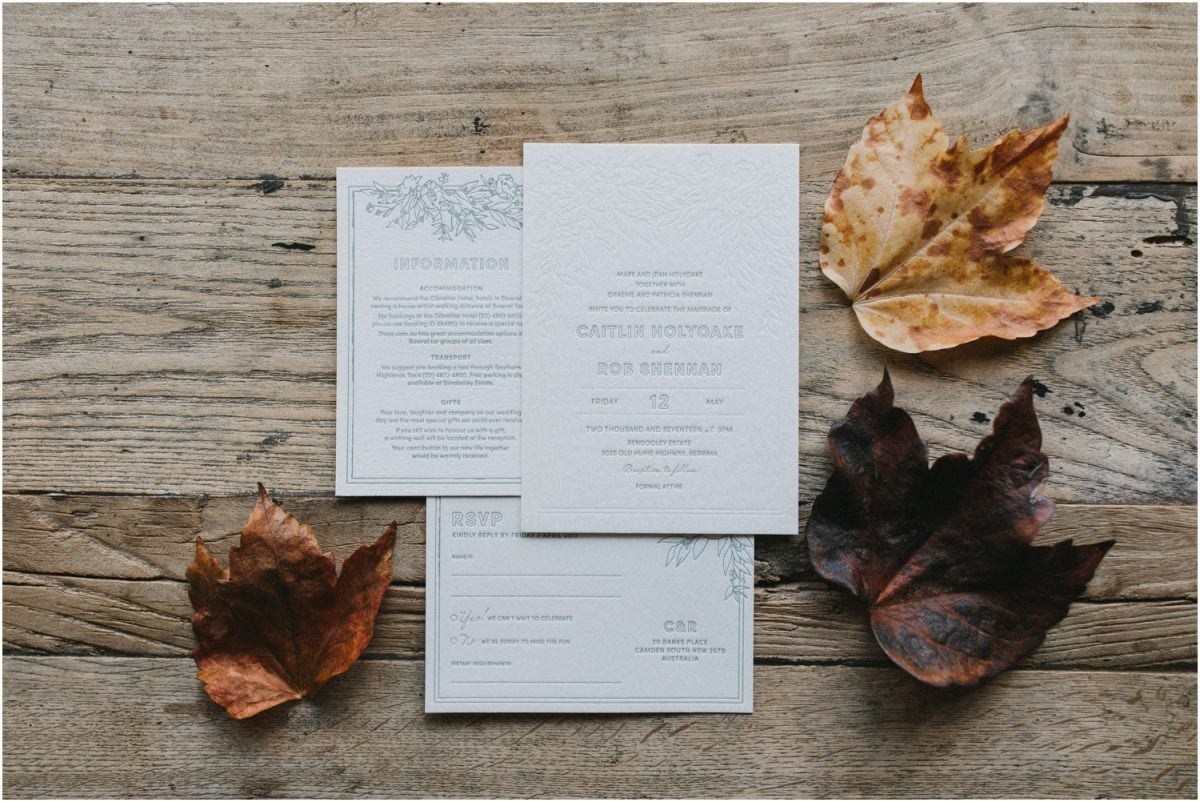 Beautiful wedding invitations for a Bendooley Berrima Wedding