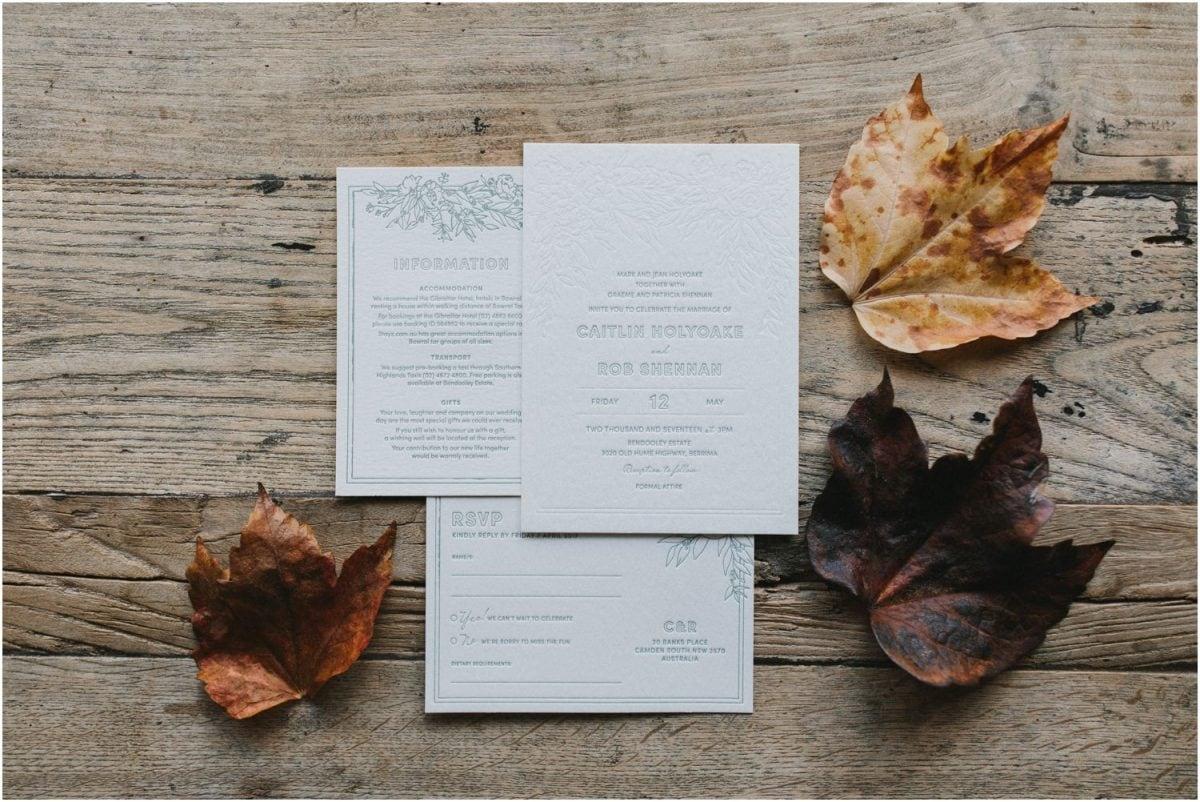 Beautiful wedding invitations for a Bendooley Berrima Wedding
