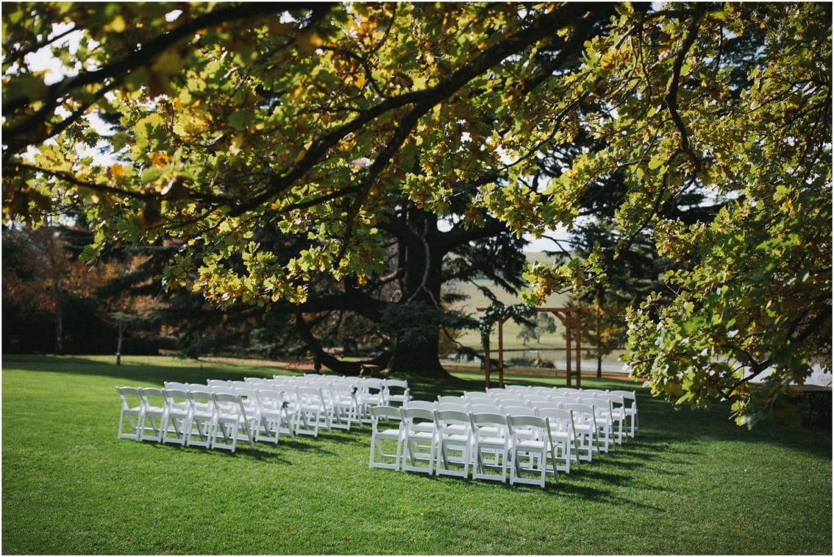 Ceremonny chairs at a Bendooley Berrima wedding