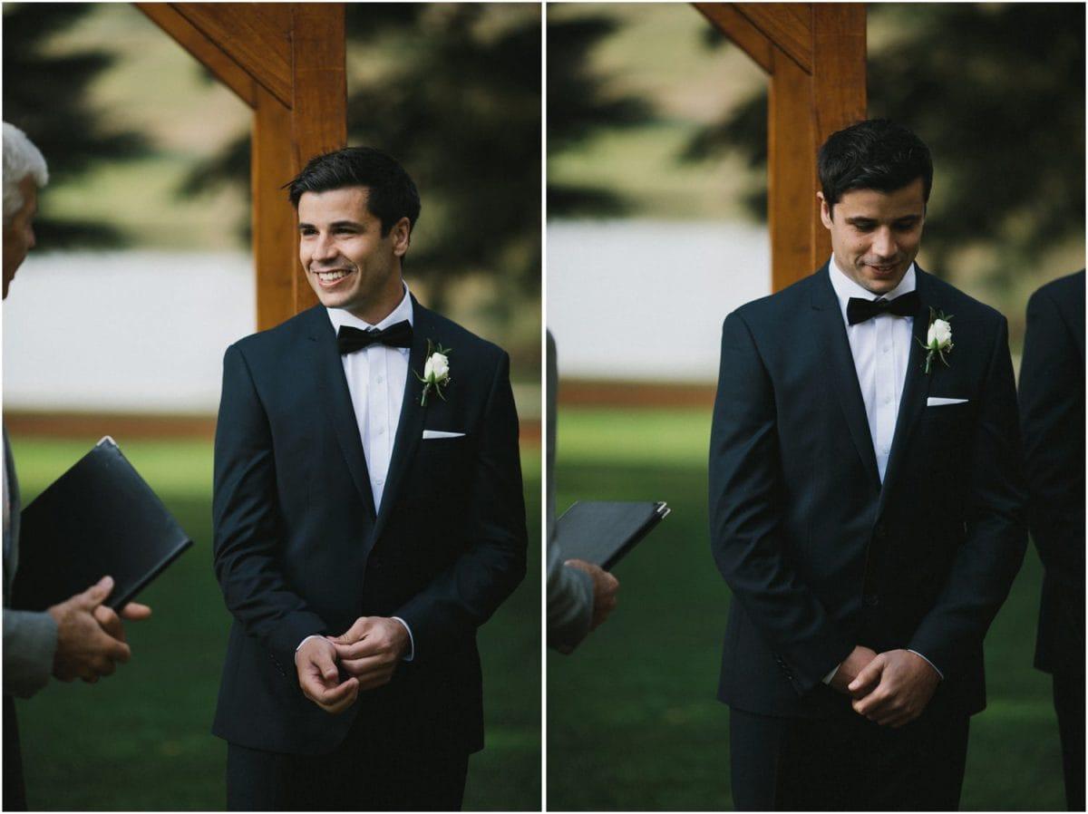 Groom waiting for bride at Bendooley Berrima wedding