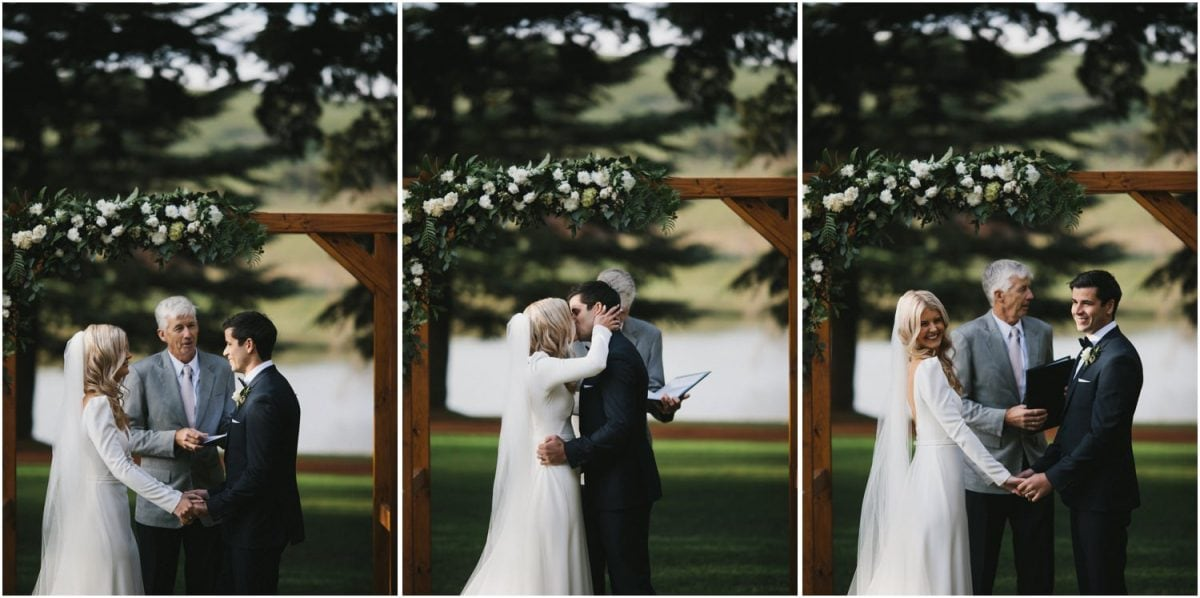 Bride and groom kiss during their Bendooley Berrima wedding