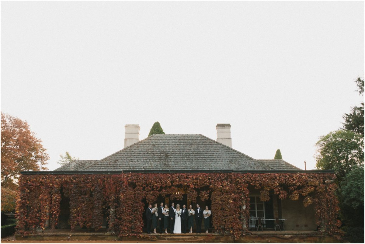 Bridal party at the Bendooley Estate homestead in autumn