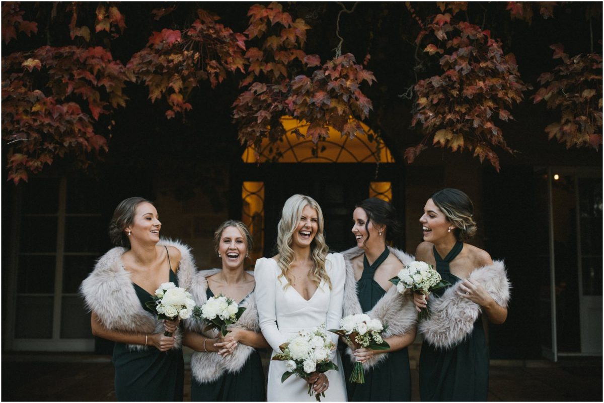 Bridesmaids in autumn at Bendooley Estate