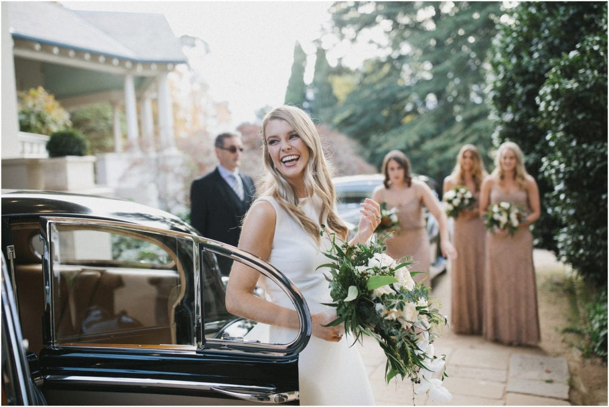 Bride arrives at her Milton Park Bowral wedding