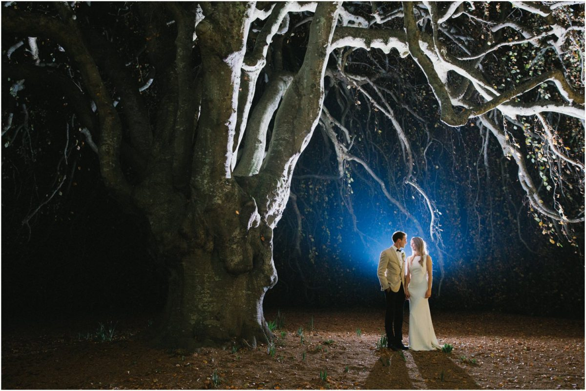 Bride and groom at night on their wedding day at Milton Park Bowral