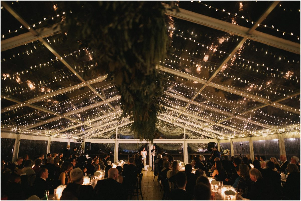 A candlelit reception at a southern highlands marquee wedding