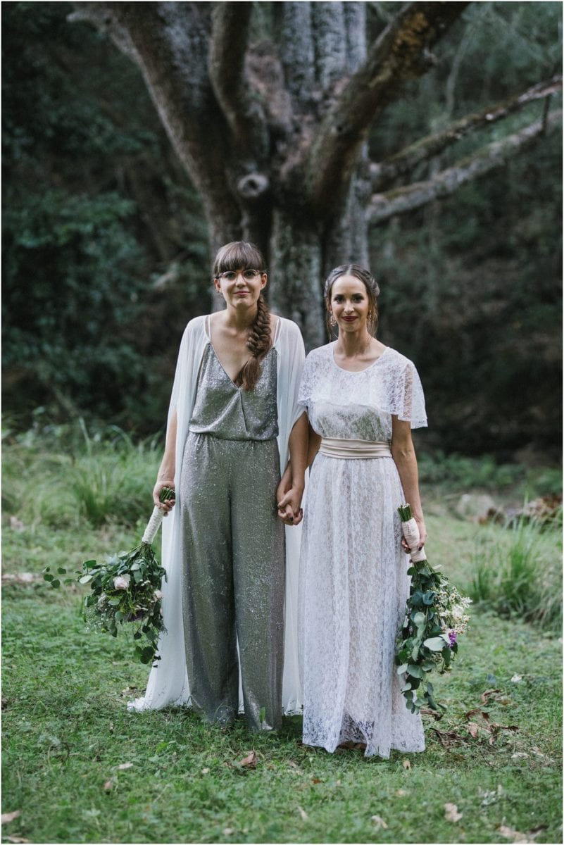 Newly married couple after their kangaroo valley same sex wedding ceremony