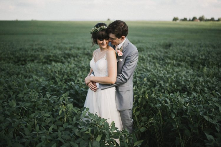 A newly married couple stand in a field of soy, in this wonderful photo by Southern Highlands wedding photographer Thomas Stewart