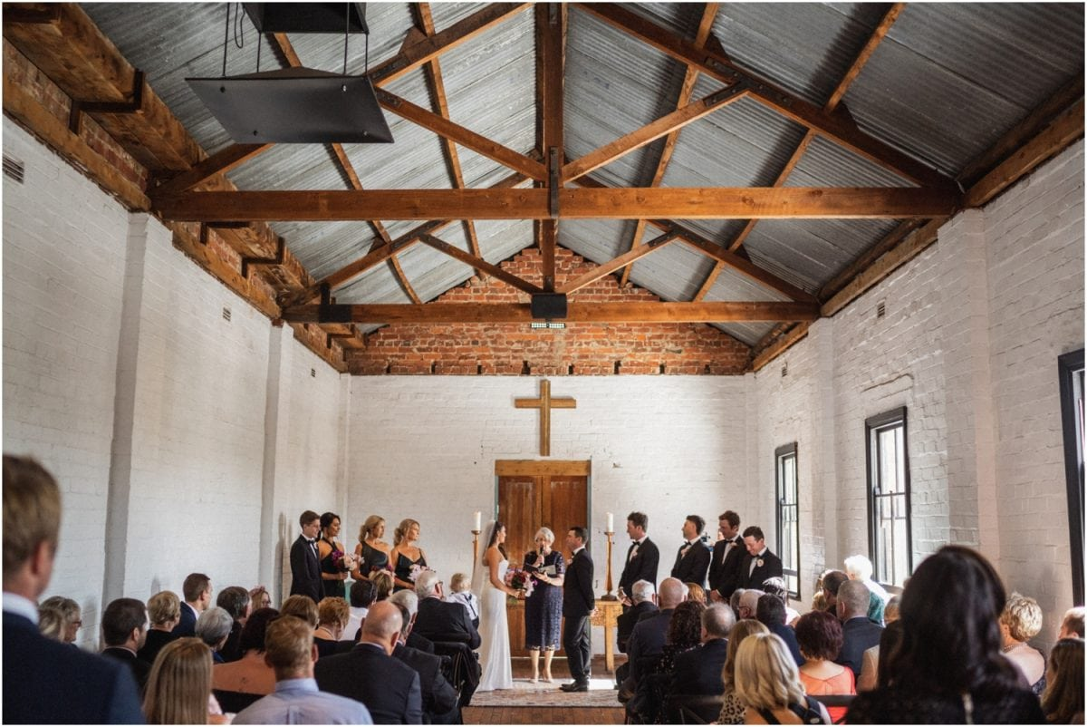 A Uneke Warehouse wedding ceremony in Wagga