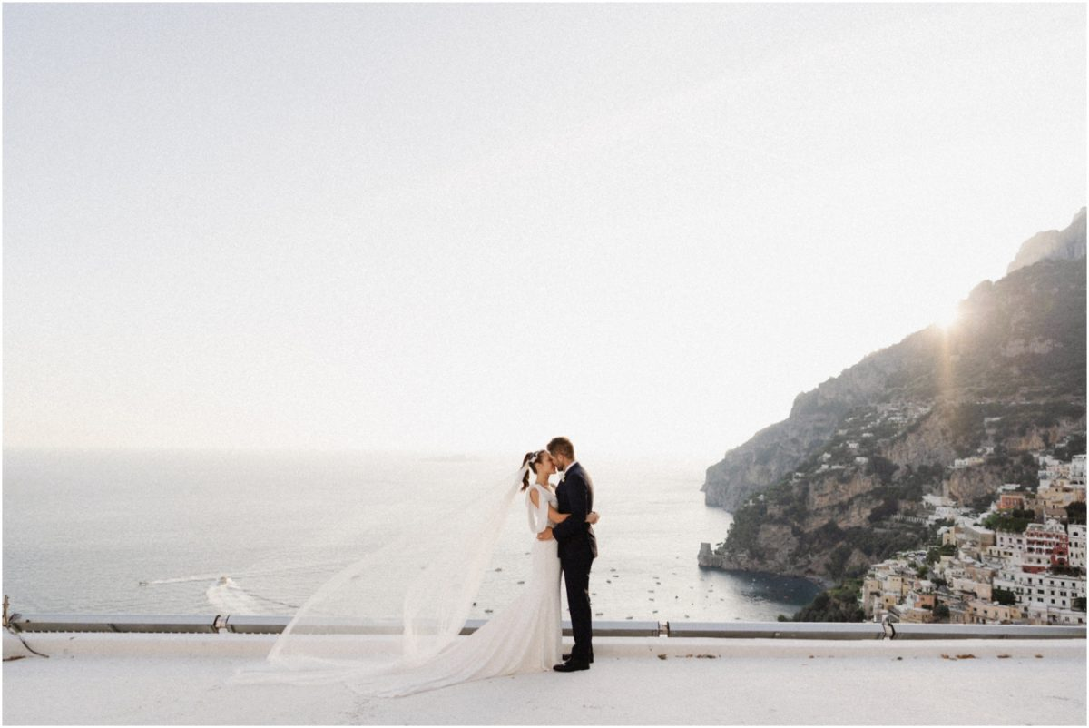 A newly married couple on the rooftop of a villa at their Villa Oliviero Positano wedding
