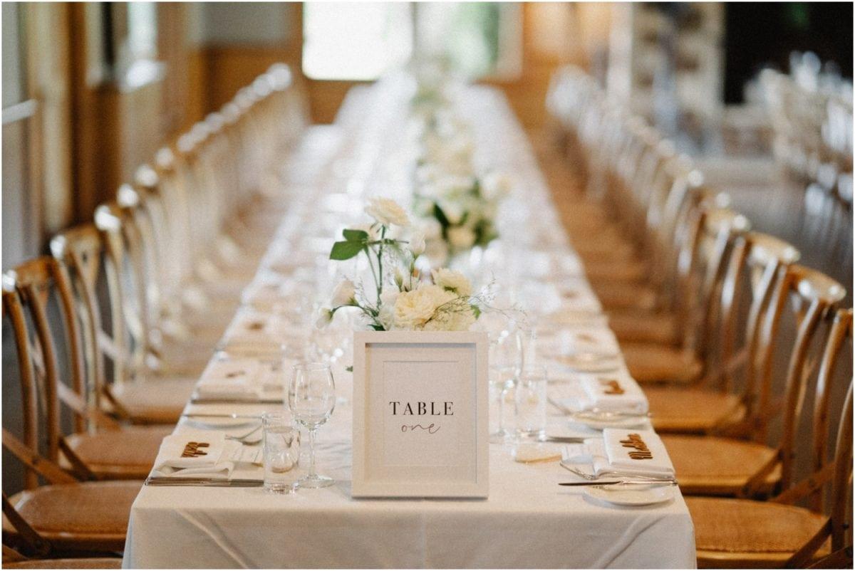 A lovely single table setup at a Centennial Vineyards Restaurant Wedding