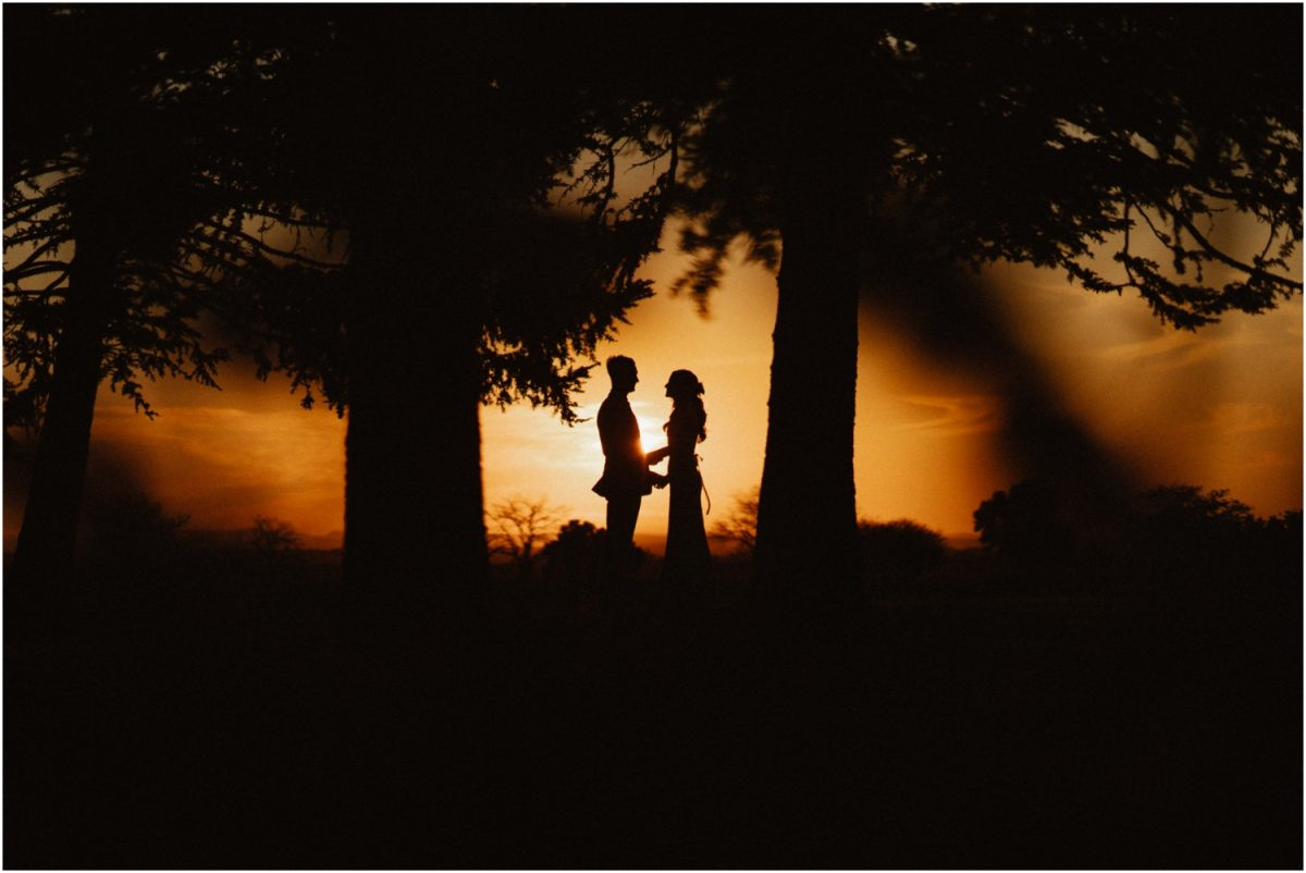 A newly married bride and groom stand between some trees against a sunset backdrop at their Merribee wedding.